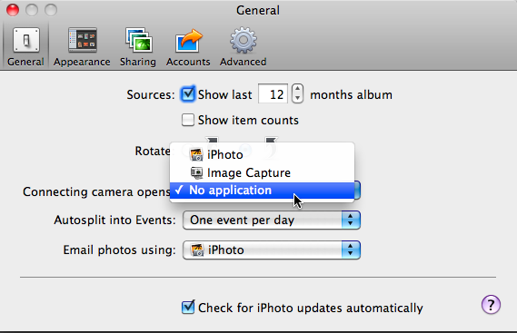 Adjust setting in iPhoto